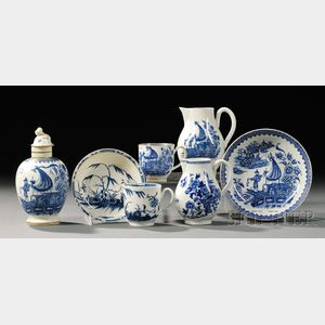 Five Worcester Porcelain Blue-decorated Items