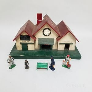 Paint-decorated Wood Model of a Train Station and Four Lead Workers.