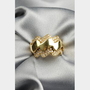 """18kt Gold and Diamond """"Wave"""" Ring, Van Cleef & Arpels"""