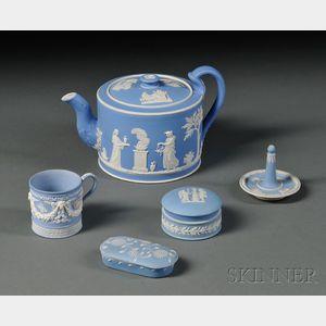 Five Wedgwood Light Blue Jasper Items