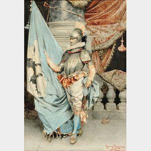 Giuseppe Signorini (Italian, 1857-1932)      Gentleman in Partial Suit of Armor with Heraldic Flag