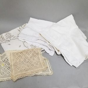 Three Antique Linen Tablecloths and Two Lace Covers.