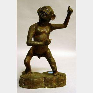 Bronze Figure of a Saucy Monkey