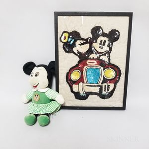 Minnie Mouse Felt Doll and a Sequined Picture of Mickey and Minnie Driving a Car.