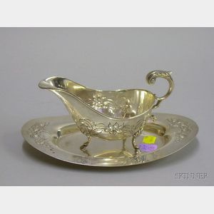 """Sterling Silver """"Durham Pattern"""" Sauce Boat and Underplate"""