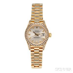 """Lady's 18kt Gold and Diamond """"Oyster Perpetual Datejust"""" Wristwatch, Rolex"""