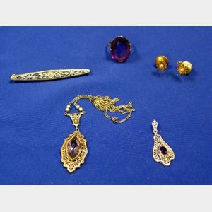 Three Art Deco White Gold Jewelry Items