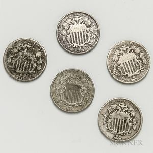 Five Shield Nickels