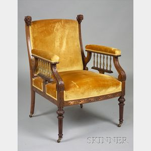 Aesthetic Movement Metal Mounted and Inlaid Rosewood Library Armchair