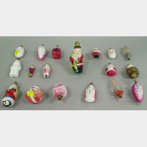 Eighteen Painted Molded Glass Christmas Figural Electric Bulbs.