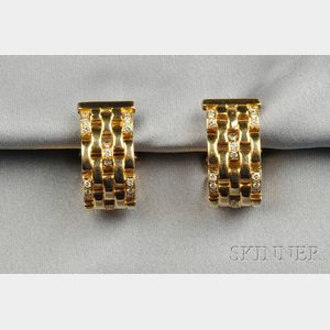 """18kt Gold and Diamond """"Panthere"""" Earclips, Cartier"""