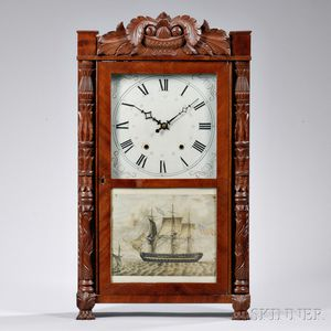 Eli Terry & Son Carved Column and Splat Shelf Clock