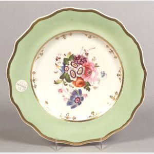 Set of Twelve English Earthenware Floral Decorated Dinner Plates