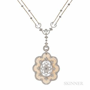 18kt Bicolor Gold and Diamond Pendant and Chain