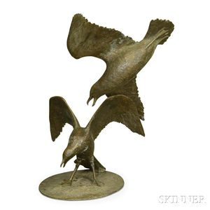 Large Bronze Garden Statue of Two Seagulls.