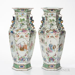 Pair of Polychrome Enameled Vases