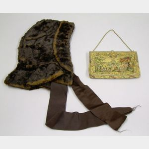 Austrian Petit-point Purse and a Victorian Brown Embroidered Silk Lined Beaver Bonne .
