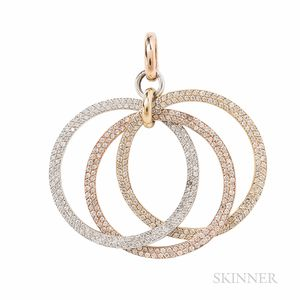 18kt Tricolor Gold and Diamond Pedant