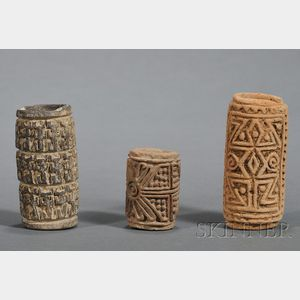 Three Pre-Columbian Pottery Stamps