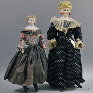 Two Parian Lady Dolls with Fancy Hairstyles
