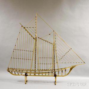 Stylized Brass Ship Model