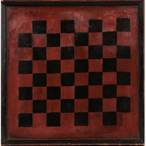 Red- and Black-painted Pine Checkerboard