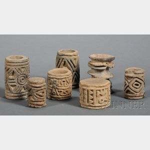 Seven Pre-Columbian Cylindrical Pottery Stamps