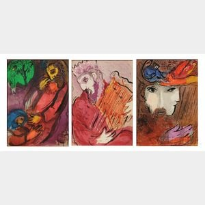 Marc Chagall (Russian/French, 1887-1985)      Three Plates from La Bible (Verve)  : David and Bethsabe