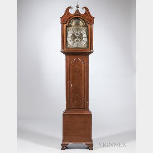 Walnut and Walnut Veneered Inlaid Tall Clock
