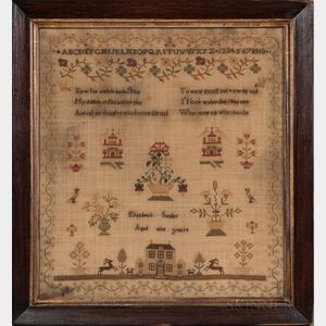 """Framed """"Elizabeth Sander"""" Needlework Sampler"""