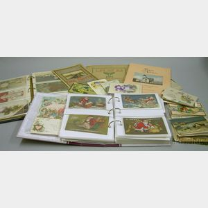 Collection of Late 19th/Early 20th Century Chromolithograph Holiday Postcards and   Souvenir Booklets