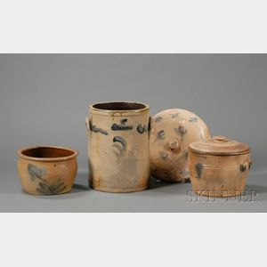 Three Cobalt-decorated Stoneware Crocks and a Cover