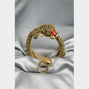 18kt Gold, Enamel, and Gem-set Leopard Bracelet and Ring