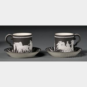 Two Wedgwood Black Jasper Dip Coffee Cans and Saucers