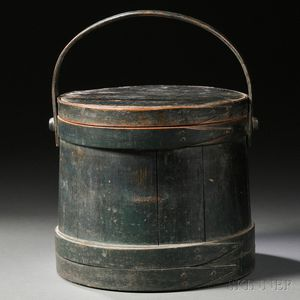 Green-painted Wooden Covered Firkin