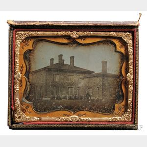 Half-plate Daguerreotype of a Two-story Stone Building