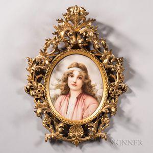 KPM Porcelain Plaque of Young Maiden