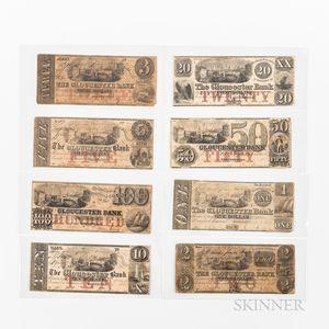 Eight Gloucester Bank Notes