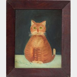 American School, 19th Century    Portrait of a Yellow Cat.