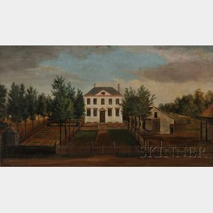 American School, Early 19th Century Portrait of the Philadelphia Colonial House, Chalkley Hall, Residence of Reverend Thomas Chalkley.