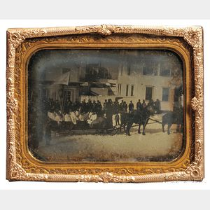 Half-plate Daguerreotype of a Winter Procession