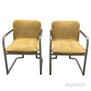 Pair of Modern Bent Steel Tube Armchairs
