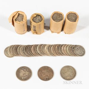 Approximately One Hundred Silver Half Dollars and Three Silver Dollars