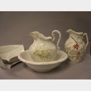 Transfer Decorated Ceramic Chamber Basin and Two Pitchers .