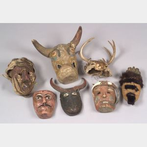 Seven Carved Wood Mexican Masks