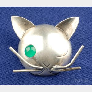 Sterling Silver and Green Onyx Cat Brooch, JoPol