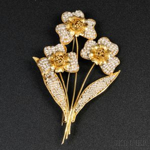 Iranian Gold and Seed Pearl Brooch