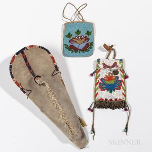 Plateau Model Cradle and Two Beaded Pouches