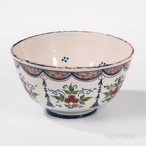 Polychrome Decorated Tin-glazed Earthenware Punch Bowl