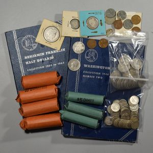 Group of Silver Dimes, Quarters, Halves, Proofs, and Currency